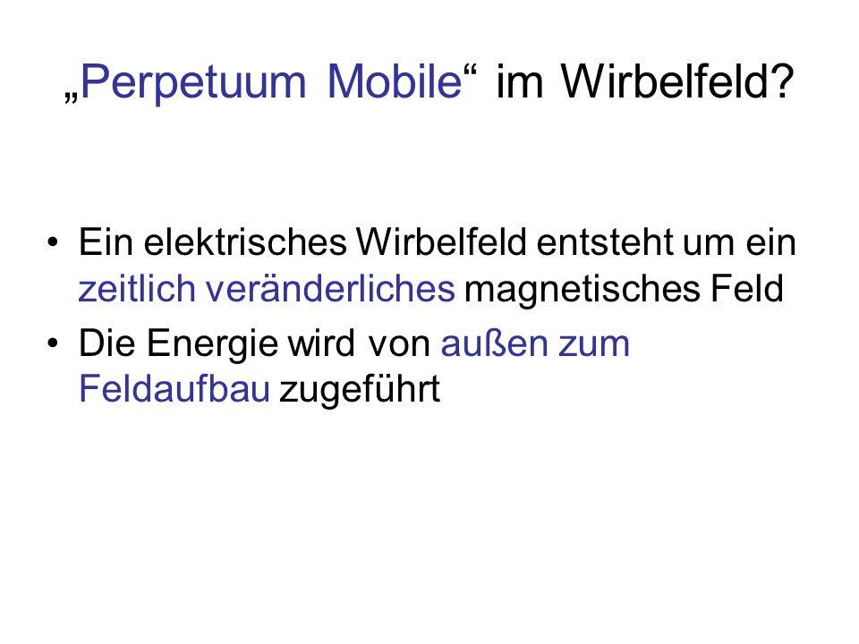 Perpetuum Mobile im Wirbelfeld? Ein elektrisches Wirbelfeld entsteht um ein zeitlich veränderliches magnetisches Feld Die Energie wird von außen zum F