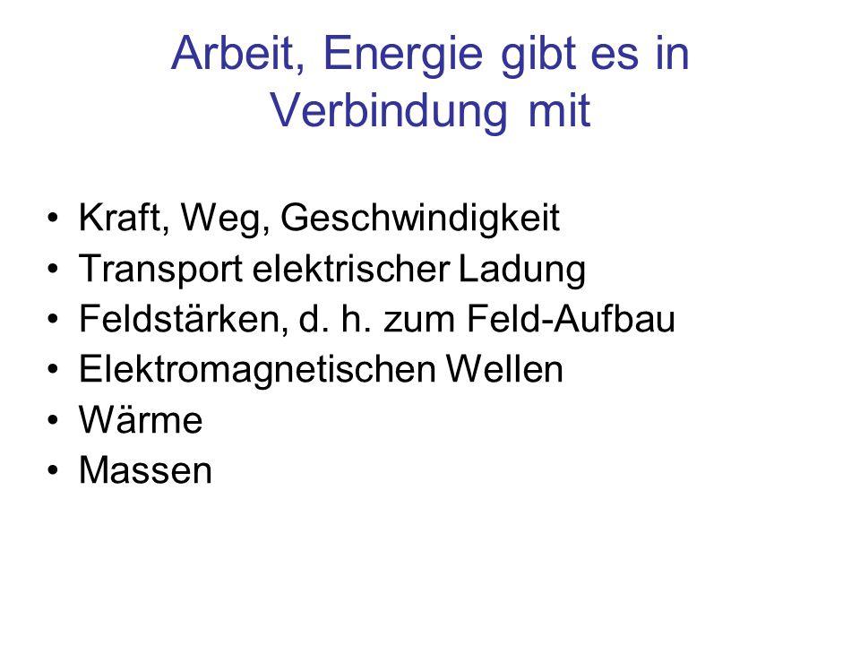 Arbeit, Energie gibt es in Verbindung mit Kraft, Weg, Geschwindigkeit Transport elektrischer Ladung Feldstärken, d. h. zum Feld-Aufbau Elektromagnetis