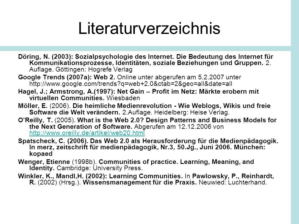 Literaturverzeichnis Döring, N. (2003): Sozialpsychologie des Internet. Die Bedeutung des Internet für Kommunikationsprozesse, Identitäten, soziale Be