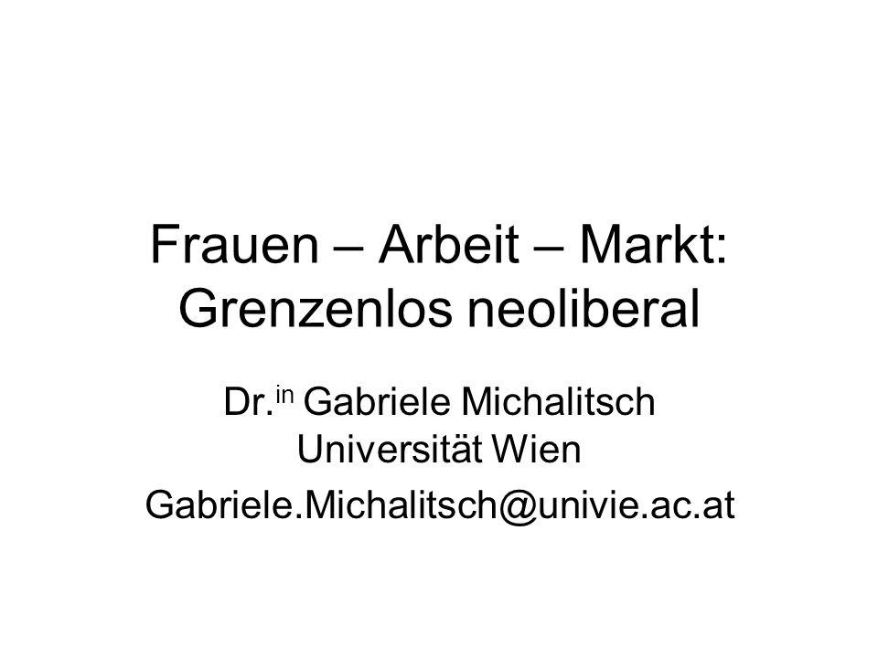 Frauen – Arbeit – Markt Neoliberale Transformation Geschlechterhierarchische Struktur der Ökonomie Neoliberale Restrukturierung von Arbeit –Prekarisierung von Erwerbsarbeit –Informalisierung von Care-Arbeit