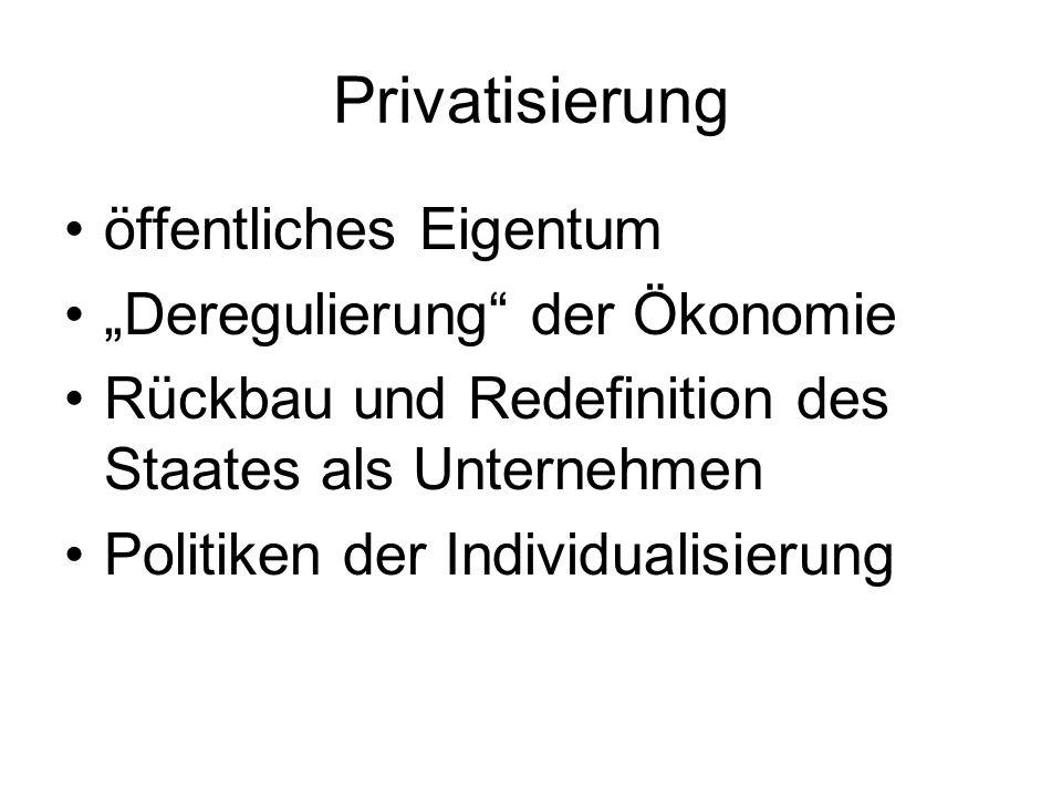 Ökonomisierung Redefinition öffentlicher Verantwortung Postulate: Chancengleichheit, Eigenverantwortung, unternehmerische Initiative, Leistungsbereitschaft, Wahlfreiheit permanentes ökonomisches Tribunal (Foucault) Arbeit an sich unternehmerisches und konkurrenzielles Subjekt