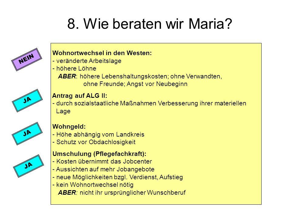 8. Wie beraten wir Maria? Wohnortwechsel in den Westen: - veränderte Arbeitslage - höhere Löhne ABER: höhere Lebenshaltungskosten; ohne Verwandten, oh