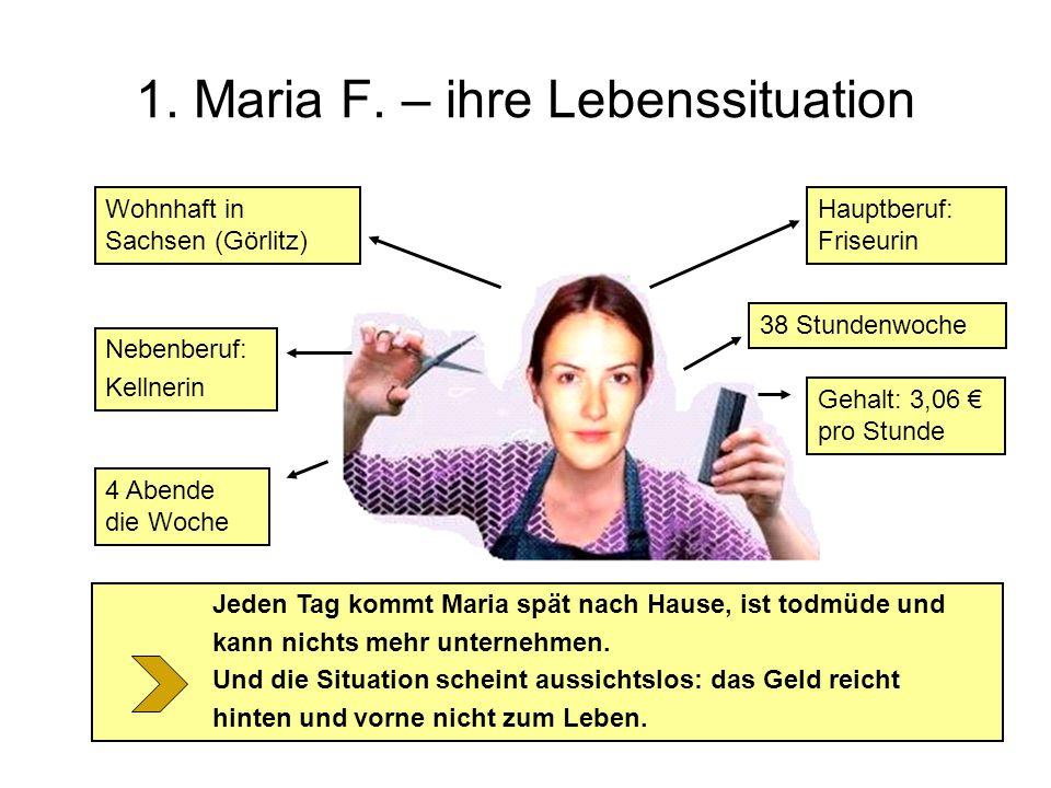 1. Maria F. – ihre Lebenssituation Wohnhaft in Sachsen (Görlitz) 4 Abende die Woche Nebenberuf: Kellnerin 38 Stundenwoche Gehalt: 3,06 pro Stunde Jede