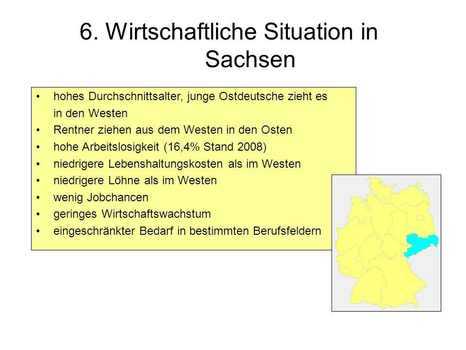 6. Wirtschaftliche Situation in Sachsen hohes Durchschnittsalter, junge Ostdeutsche zieht es in den Westen Rentner ziehen aus dem Westen in den Osten