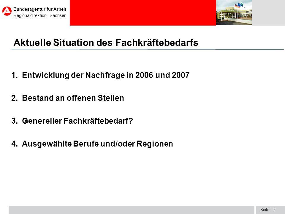 Seite Bundesagentur für Arbeit Regionaldirektion Sachsen 13 Verteilung des gesamtwirtschaftlichen Stellenangebotes