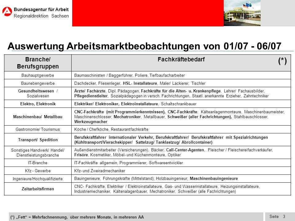 Seite Bundesagentur für Arbeit Regionaldirektion Sachsen 14 Entwicklung der gemeldeten Stellen