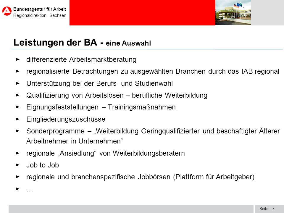 Seite Bundesagentur für Arbeit Regionaldirektion Sachsen 19 TOP Ten der bundesweit offenen Stellen – Situation in Sachsen