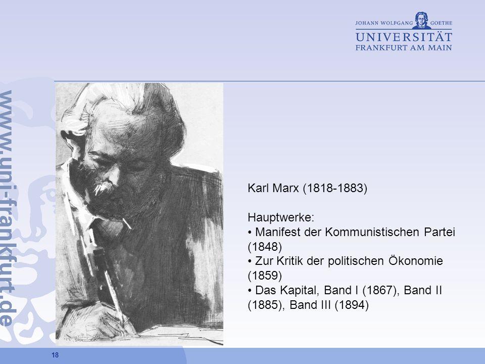 18 Karl Marx (1818-1883) Hauptwerke: Manifest der Kommunistischen Partei (1848) Zur Kritik der politischen Ökonomie (1859) Das Kapital, Band I (1867),