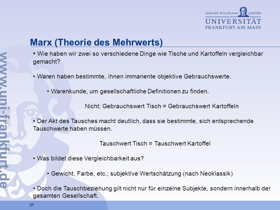 21 Marx (Theorie des Mehrwerts) Wie haben wir zwei so verschiedene Dinge wie Tische und Kartoffeln vergleichbar gemacht? Waren haben bestimmte, ihnen