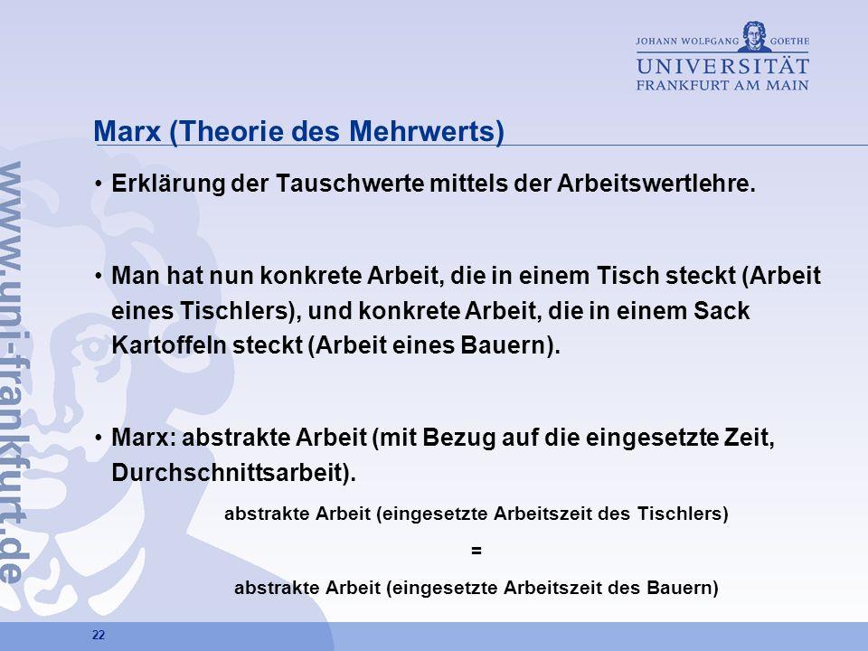 22 Marx (Theorie des Mehrwerts) Erklärung der Tauschwerte mittels der Arbeitswertlehre. Man hat nun konkrete Arbeit, die in einem Tisch steckt (Arbeit