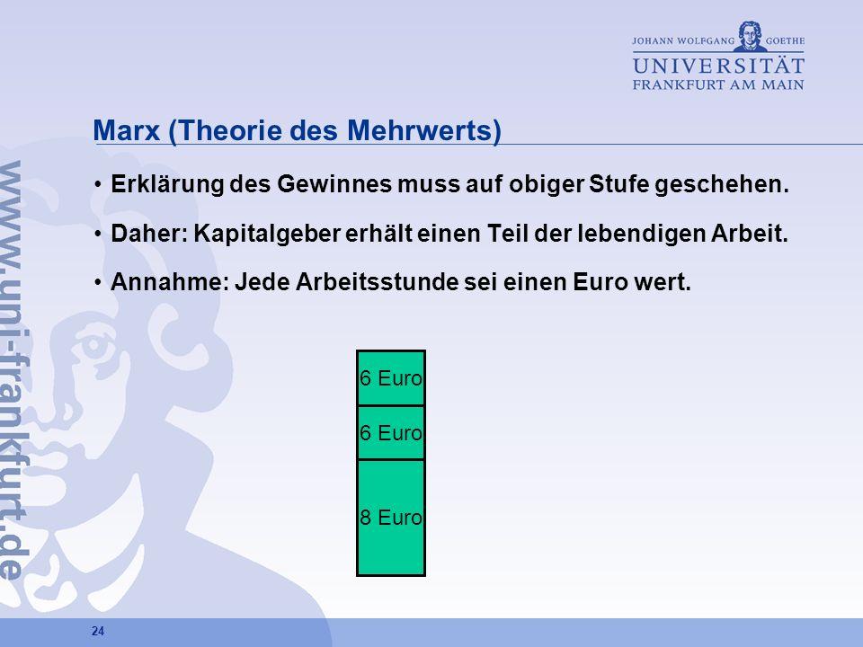 24 Marx (Theorie des Mehrwerts) Erklärung des Gewinnes muss auf obiger Stufe geschehen. Daher: Kapitalgeber erhält einen Teil der lebendigen Arbeit. A