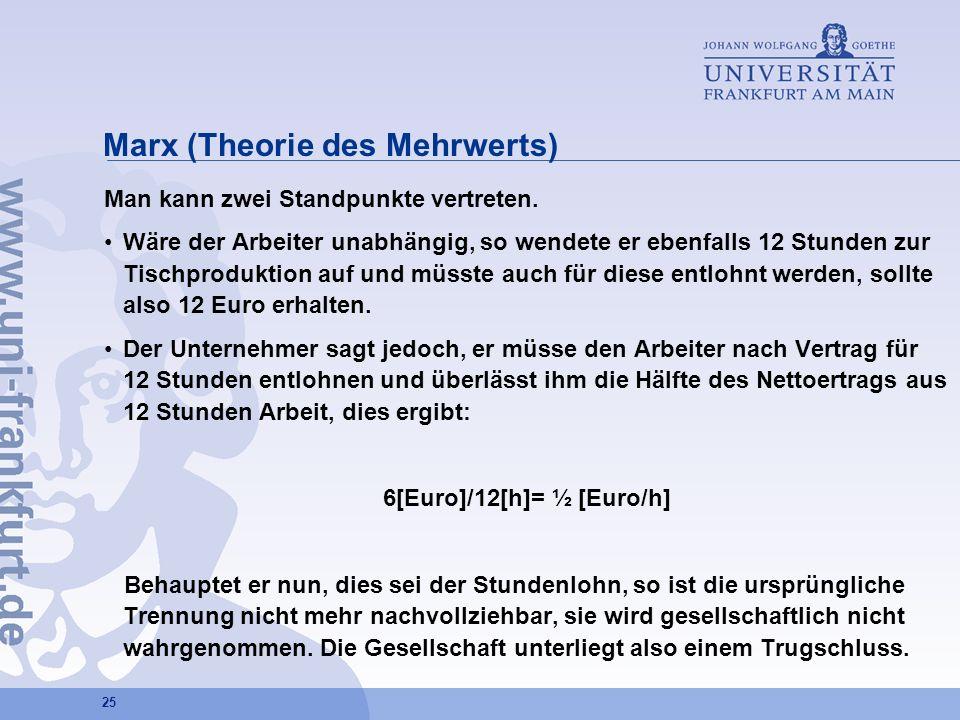 25 Marx (Theorie des Mehrwerts) Man kann zwei Standpunkte vertreten. Wäre der Arbeiter unabhängig, so wendete er ebenfalls 12 Stunden zur Tischprodukt