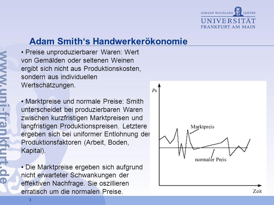 4 Adam Smiths Handwerkerökonomie Herstellungskosten = Produktionspreise Labour embodied/ enthaltene Arbeit: Solange nur mittels Arbeit produziert können die Produktionspreise durch Vergleich der gesellschaftlich notwendigen Arbeitszeit bestimmt werden.