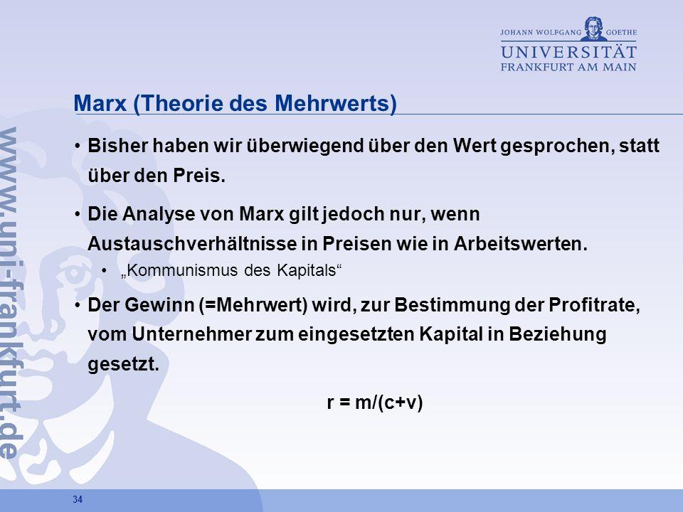 34 Marx (Theorie des Mehrwerts) Bisher haben wir überwiegend über den Wert gesprochen, statt über den Preis. Die Analyse von Marx gilt jedoch nur, wen