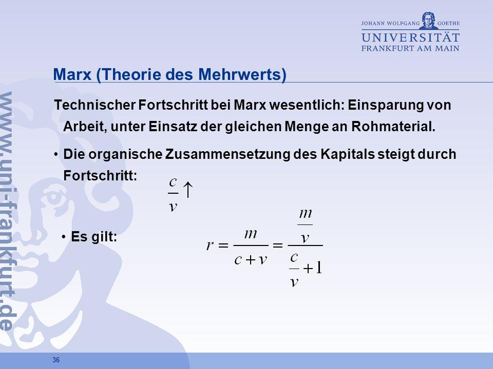 36 Marx (Theorie des Mehrwerts) Technischer Fortschritt bei Marx wesentlich: Einsparung von Arbeit, unter Einsatz der gleichen Menge an Rohmaterial. D