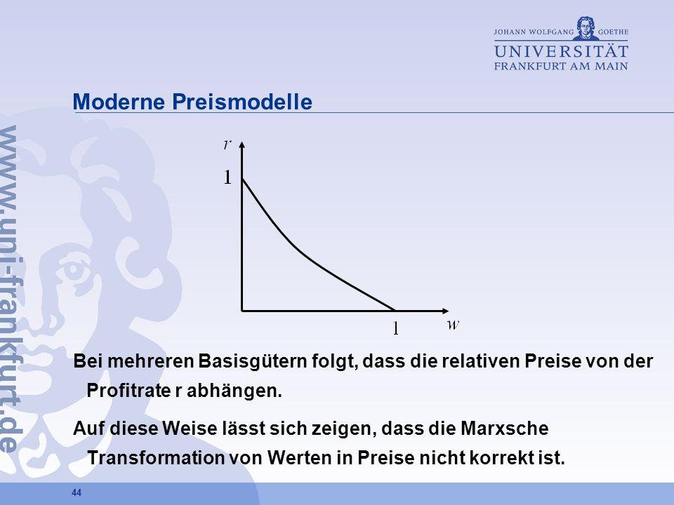 44 Moderne Preismodelle Bei mehreren Basisgütern folgt, dass die relativen Preise von der Profitrate r abhängen. Auf diese Weise lässt sich zeigen, da
