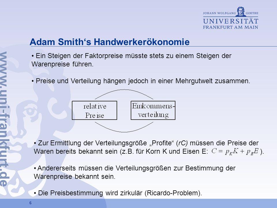 6 Adam Smiths Handwerkerökonomie Ein Steigen der Faktorpreise müsste stets zu einem Steigen der Warenpreise führen. Preise und Verteilung hängen jedoc