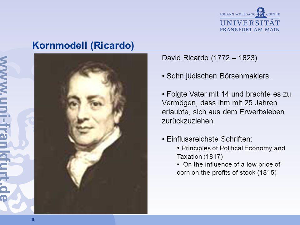 8 Kornmodell (Ricardo) David Ricardo (1772 – 1823) Sohn jüdischen Börsenmaklers. Folgte Vater mit 14 und brachte es zu Vermögen, dass ihm mit 25 Jahre