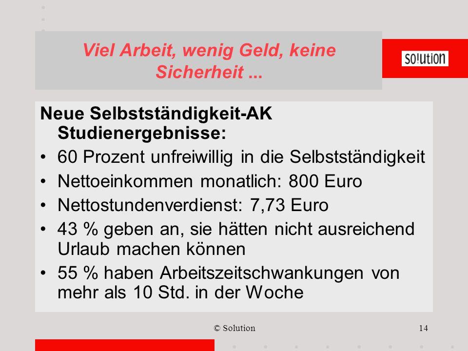 © Solution14 Viel Arbeit, wenig Geld, keine Sicherheit... Neue Selbstständigkeit-AK Studienergebnisse: 60 Prozent unfreiwillig in die Selbstständigkei