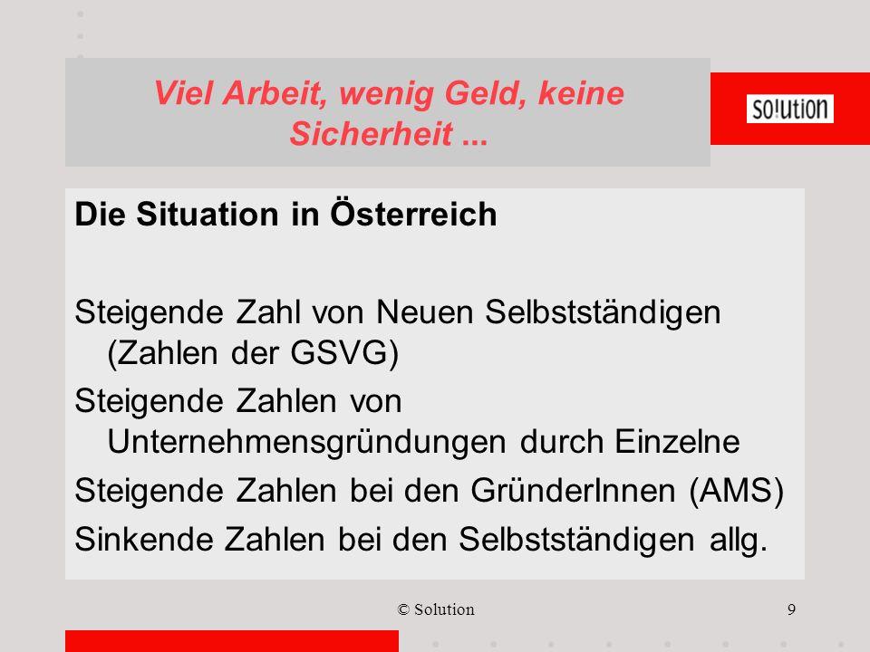 © Solution9 Viel Arbeit, wenig Geld, keine Sicherheit... Die Situation in Österreich Steigende Zahl von Neuen Selbstständigen (Zahlen der GSVG) Steige