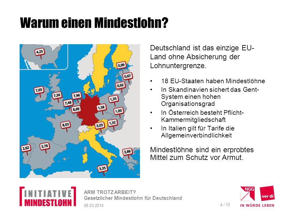 08.03.2014 ARM TROTZ ARBEIT.Gesetzlicher Mindestlohn für Deutschland 5 / 13 Was wird gefordert .