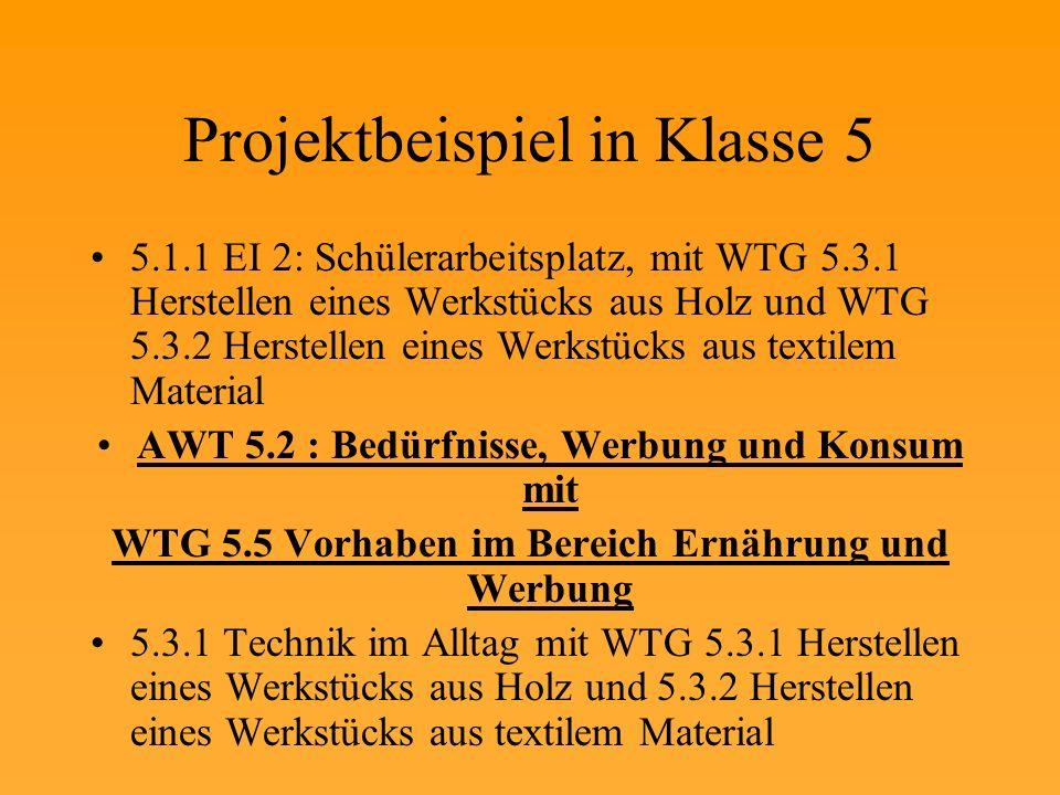 Projektbeispiel in Klasse 5 5.1.1 EI 2: Schülerarbeitsplatz, mit WTG 5.3.1 Herstellen eines Werkstücks aus Holz und WTG 5.3.2 Herstellen eines Werkstücks aus textilem Material AWT 5.2 : Bedürfnisse, Werbung und Konsum mit WTG 5.5 Vorhaben im Bereich Ernährung und Werbung 5.3.1 Technik im Alltag mit WTG 5.3.1 Herstellen eines Werkstücks aus Holz und 5.3.2 Herstellen eines Werkstücks aus textilem Material