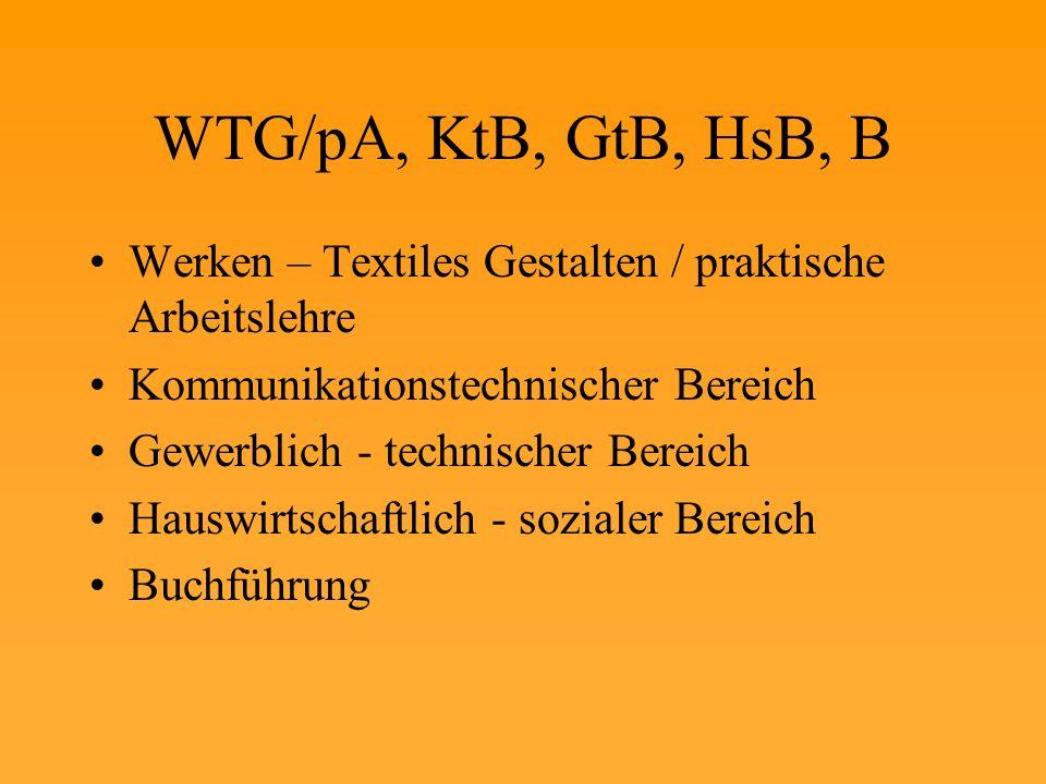 WTG/pA, KtB, GtB, HsB, B Werken – Textiles Gestalten / praktische Arbeitslehre Kommunikationstechnischer Bereich Gewerblich - technischer Bereich Hauswirtschaftlich - sozialer Bereich Buchführung