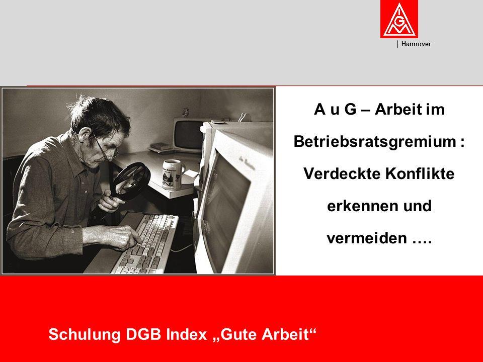 U m w el t Hannover Schulung DGB Index Gute Arbeit A u G – Arbeit im Betriebsratsgremium : Verdeckte Konflikte erkennen und vermeiden ….