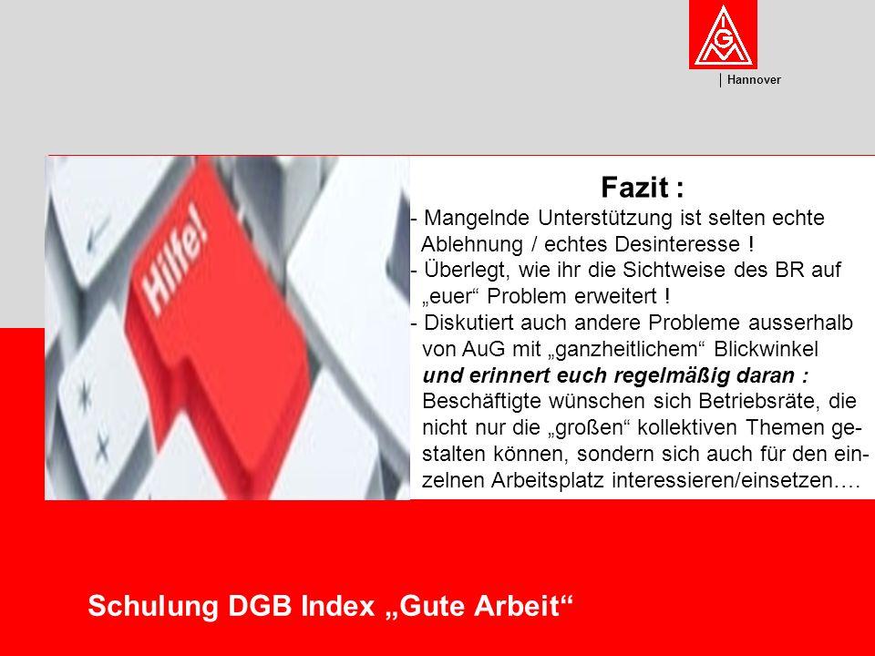 U m w el t Hannover Schulung DGB Index Gute Arbeit Fazit : - Mangelnde Unterstützung ist selten echte Ablehnung / echtes Desinteresse .