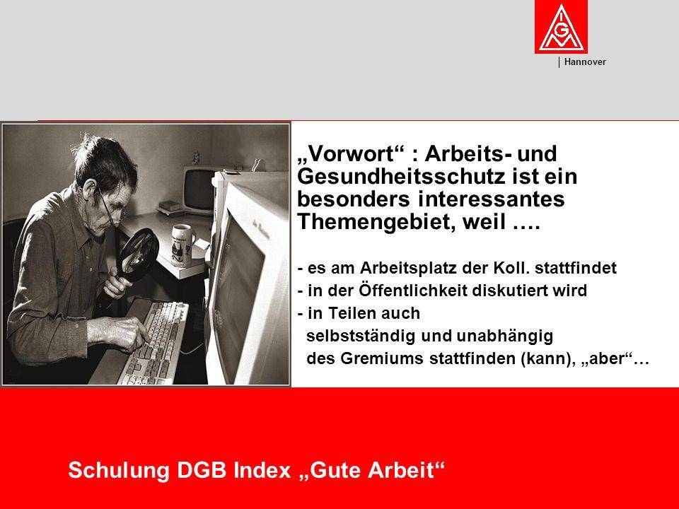 U m w el t Hannover Schulung DGB Index Gute Arbeit Vorwort : Arbeits- und Gesundheitsschutz ist ein besonders interessantes Themengebiet, weil ….