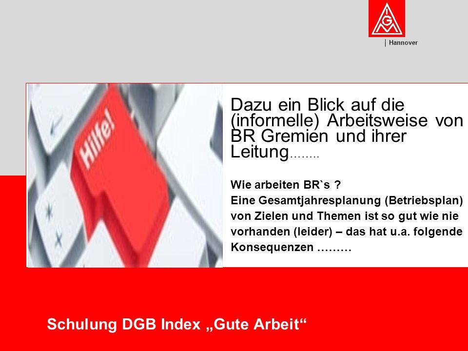 U m w el t Hannover Schulung DGB Index Gute Arbeit BR`s reagieren auf Maßnahmen der Arbeitgeberseite … Die Verteilung der Aufgaben und Einteilung der Ressourcen verläuft eher ad hoc….