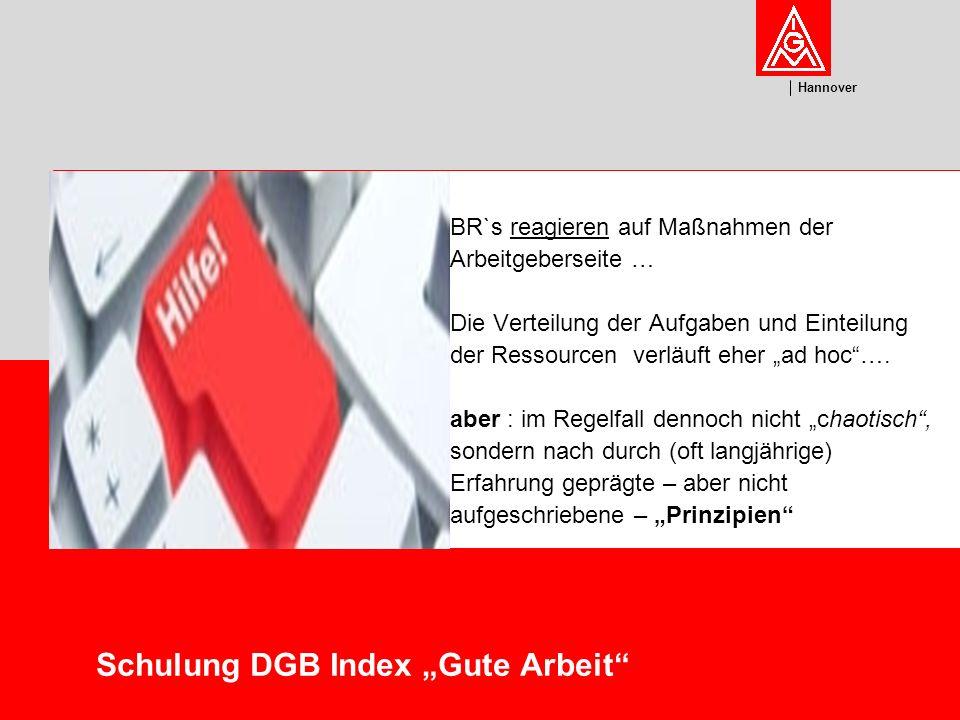 U m w el t Hannover Schulung DGB Index Gute Arbeit 1.