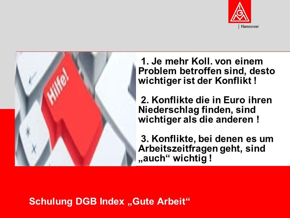 U m w el t Hannover Schulung DGB Index Gute Arbeit Probleme / Konflikte im Arbeitsschutz finden sich häufig nicht in dieser Prioritätenskala wieder .