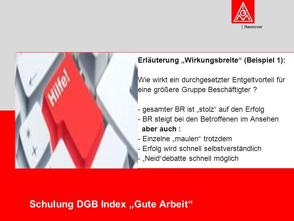 U m w el t Hannover Schulung DGB Index Gute Arbeit Erläuterung Wirkungsbreite (Beispiel): Wie wirkt ein veränderter Arbeitsplatz für eine durch Krankheit stark eingeschränkte Kollegin auf Initiative des BR .