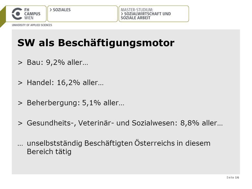 Seite 16 SW als Beschäftigungsmotor >Bau: 9,2% aller… >Handel: 16,2% aller… >Beherbergung: 5,1% aller… >Gesundheits-, Veterinär- und Sozialwesen: 8,8%