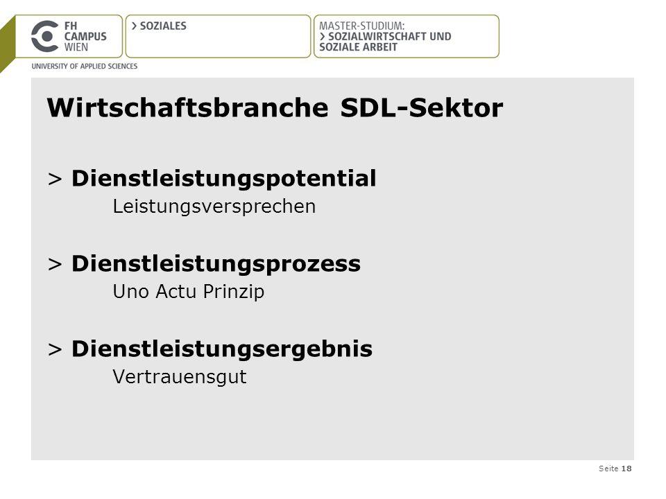 Seite 18 Wirtschaftsbranche SDL-Sektor >Dienstleistungspotential Leistungsversprechen >Dienstleistungsprozess Uno Actu Prinzip >Dienstleistungsergebni
