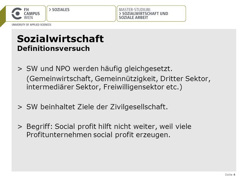 Seite 4 Sozialwirtschaft Definitionsversuch >SW und NPO werden häufig gleichgesetzt. (Gemeinwirtschaft, Gemeinnützigkeit, Dritter Sektor, intermediäre