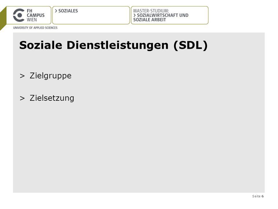 Seite 6 Soziale Dienstleistungen (SDL) >Zielgruppe >Zielsetzung