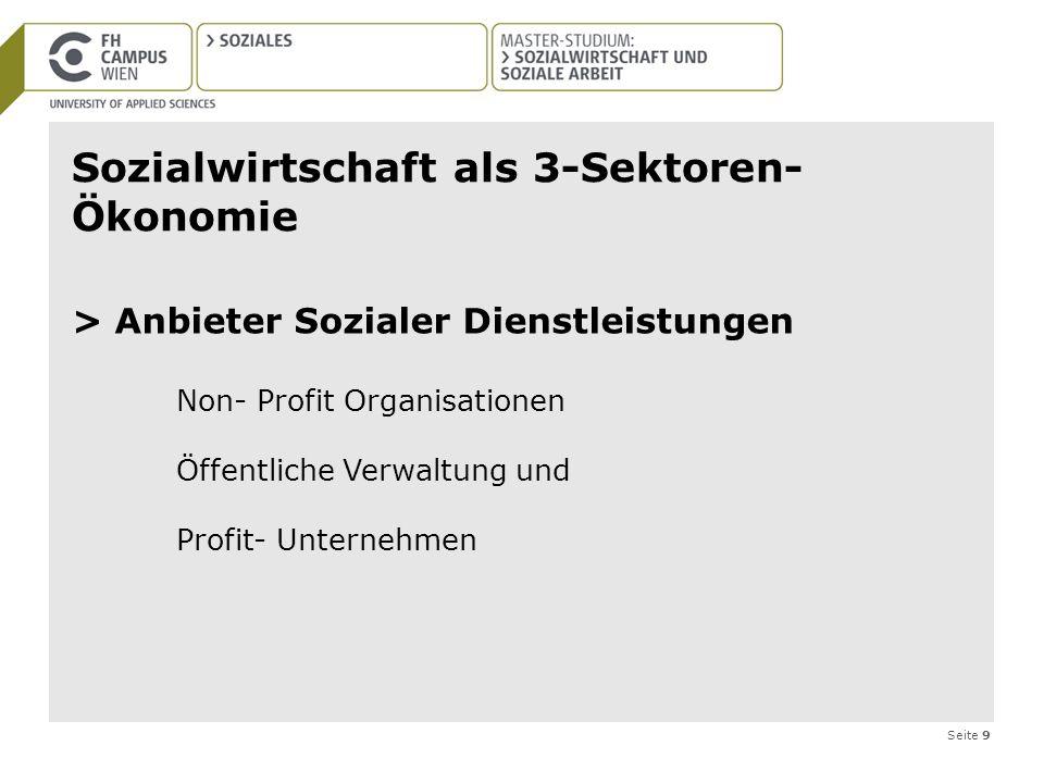 Seite 9 Sozialwirtschaft als 3-Sektoren- Ökonomie > Anbieter Sozialer Dienstleistungen Non- Profit Organisationen Öffentliche Verwaltung und Profit- U