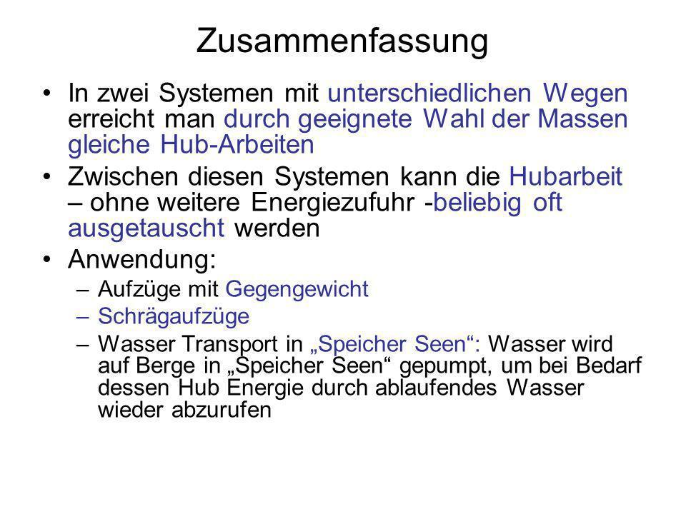 Zusammenfassung In zwei Systemen mit unterschiedlichen Wegen erreicht man durch geeignete Wahl der Massen gleiche Hub-Arbeiten Zwischen diesen Systeme