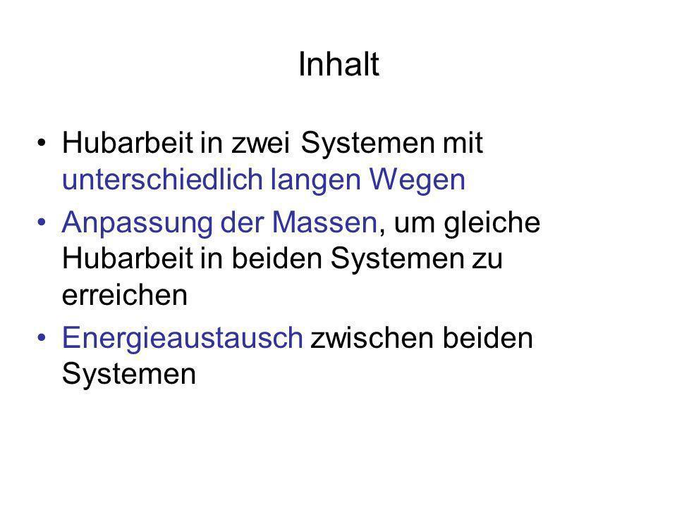 Inhalt Hubarbeit in zwei Systemen mit unterschiedlich langen Wegen Anpassung der Massen, um gleiche Hubarbeit in beiden Systemen zu erreichen Energiea