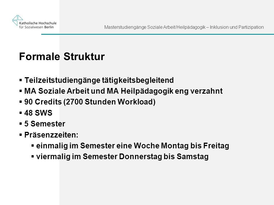 Masterstudiengänge Soziale Arbeit/Heilpädagogik – Inklusion und Partizipation Formale Struktur Teilzeitstudiengänge tätigkeitsbegleitend MA Soziale Ar