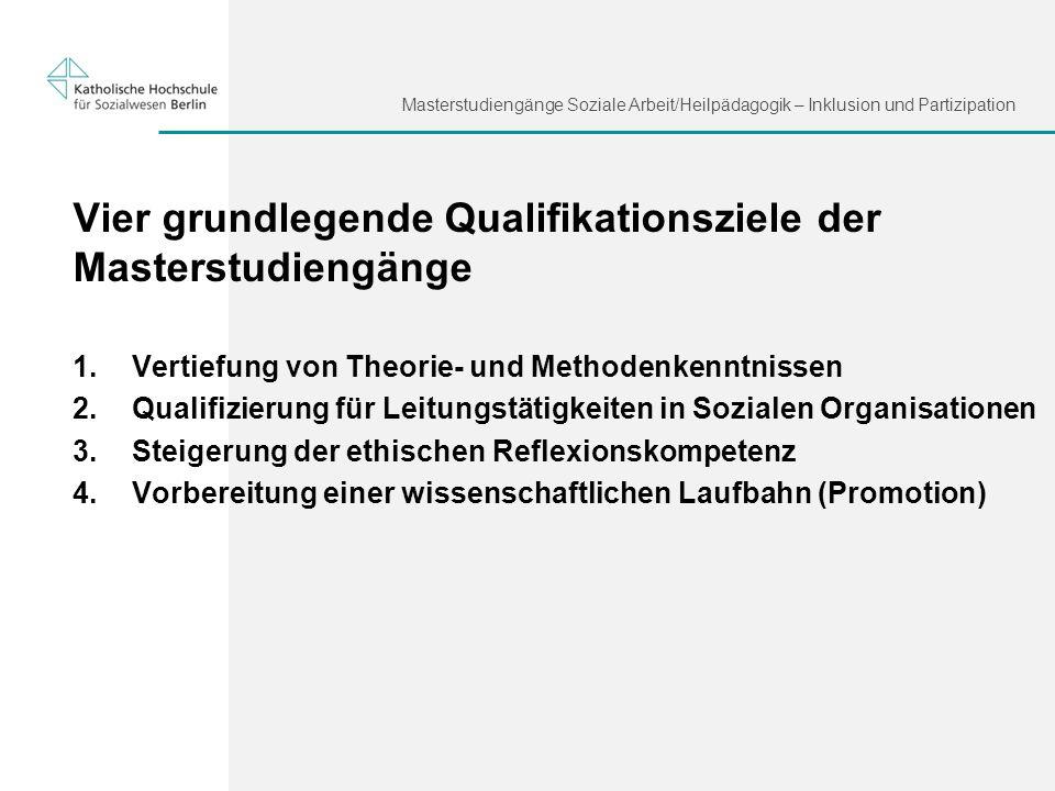 Masterstudiengänge Soziale Arbeit/Heilpädagogik – Inklusion und Partizipation Vier grundlegende Qualifikationsziele der Masterstudiengänge 1. Vertiefu