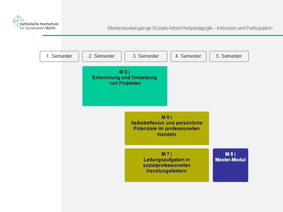 Masterstudiengänge Soziale Arbeit/Heilpädagogik – Inklusion und Partizipation 1. Semester3. Semester2. Semester5. Semester4. Semester M 6 | Selbstrefl