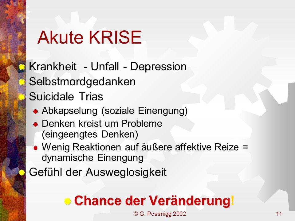 © G. Possnigg 200211 Akute KRISE Krankheit - Unfall - Depression Selbstmordgedanken Suicidale Trias Abkapselung (soziale Einengung) Denken kreist um P