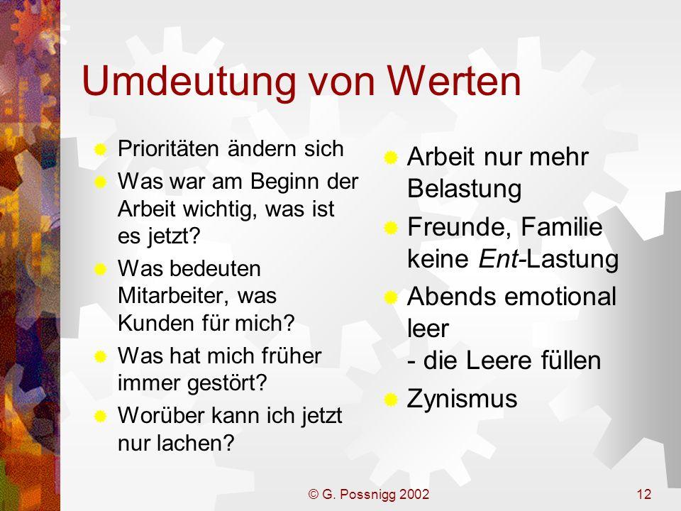 © G. Possnigg 200212 Umdeutung von Werten Prioritäten ändern sich Was war am Beginn der Arbeit wichtig, was ist es jetzt? Was bedeuten Mitarbeiter, wa