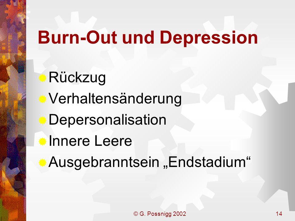 © G. Possnigg 200214 Burn-Out und Depression Rückzug Verhaltensänderung Depersonalisation Innere Leere Ausgebranntsein Endstadium