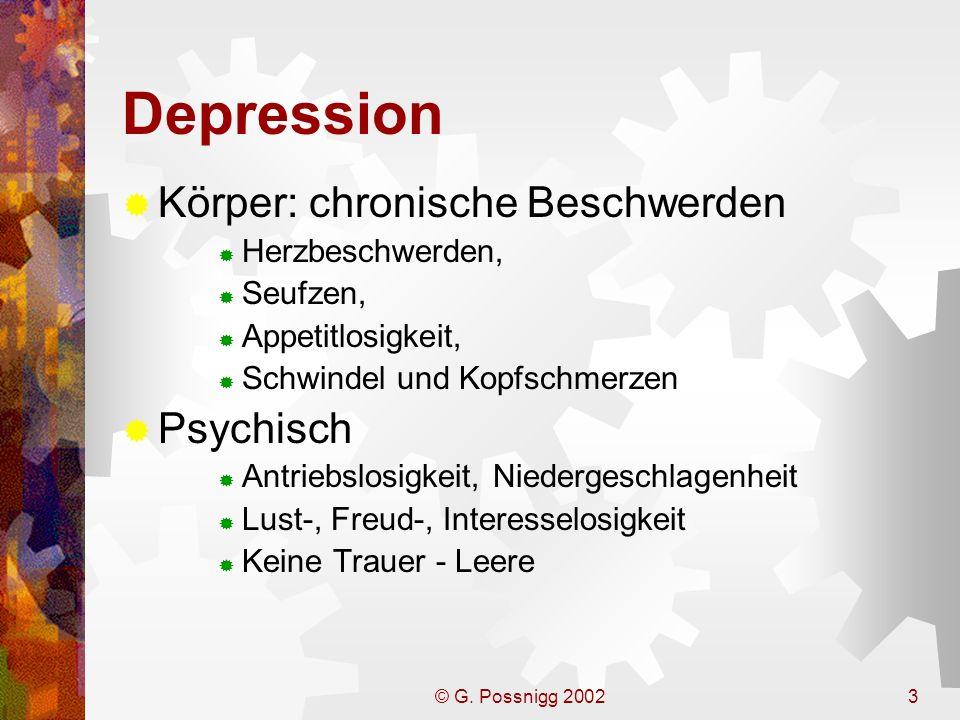 © G. Possnigg 20023 Depression Körper: chronische Beschwerden Herzbeschwerden, Seufzen, Appetitlosigkeit, Schwindel und Kopfschmerzen Psychisch Antrie