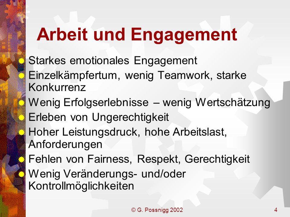 © G. Possnigg 20024 Arbeit und Engagement Starkes emotionales Engagement Einzelkämpfertum, wenig Teamwork, starke Konkurrenz Wenig Erfolgserlebnisse –