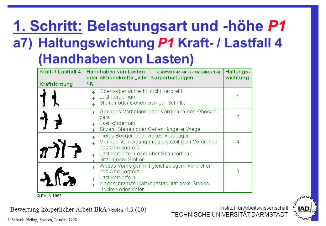 Institut für Arbeitswissenschaft TECHNISCHE UNIVERSITÄT DARMSTADT © Schaub, Helbig, Spelten, Landau 1998 Bewertung körperlicher Arbeit BkA Version 4.3 (10) P1 P1 1.